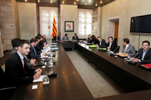 The summit gathered the leaders of all Catalan parties together at the Generalitat Palace (by O. Campuzano)