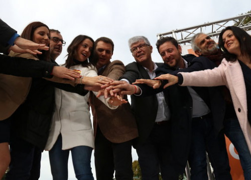 The candidates for Ciutadans at a rally campaign in Tarragona (by Elisenda Rosanas)
