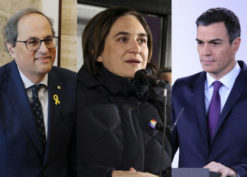 From left to right: Catalan president Quim Torra, Barcelona mayor Ada Colau, and Spanish president Pedro Sánchez (by ACN)