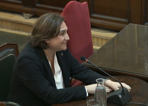 Barcelona's mayor, Ada Colau, testifying in Catalan trial on February 28, 2019
