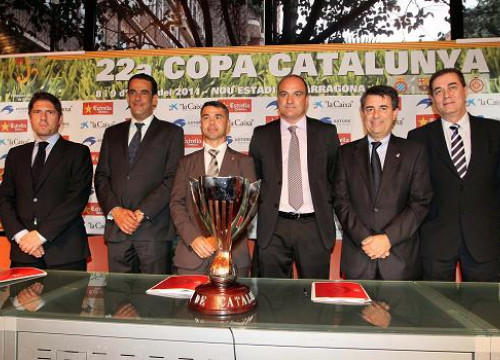 Copa Catalunya's draw, with representatives from the Catalan Government, the Catalan Football Federation and the 4 clubs (FCB)