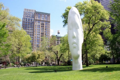 'Echo', Jaume Plensa's head located at New York's Madison Square Park (by A. Matamoros)