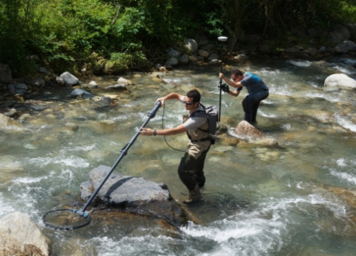 Experts of Endesa undertaking a study on trouts in the Western Catalan Pyrenees (by Endesa)