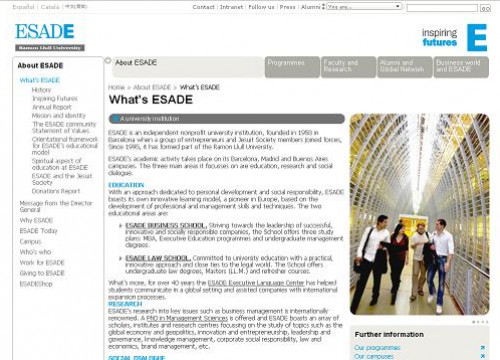 ESADE's website (by ESADE / ACN)