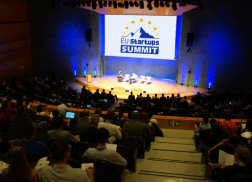 Image of the auditorium where the 2019 EU-Startups Summit is taking place in Barcelona (by @EU_Startups)