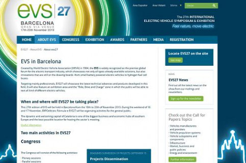 The website of EVS27, which takes place in Barcelona this year (by EVS27 / ACN)