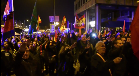 Fascist demonstration in Madrid on Friday with people giving Nazi salutes