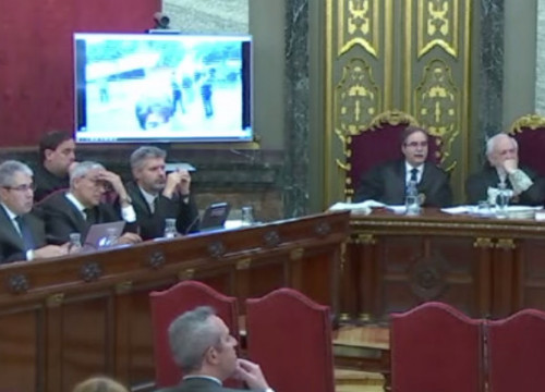 Screenshot of the Catalan trial on May 28, 2019, when videos of the 2017 events were being shown