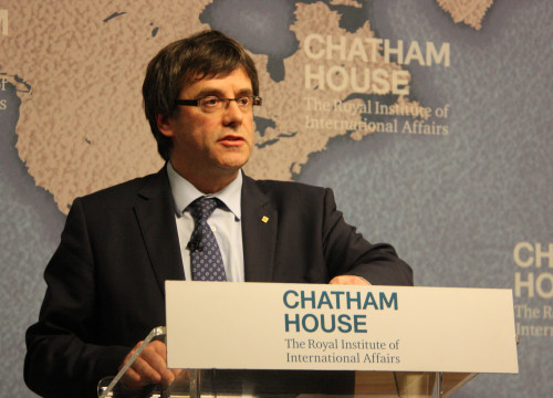 Catalan President, Carles Puigdemont, during his conference 'Mapping a path towards Catalan independence' at London's Chatham House