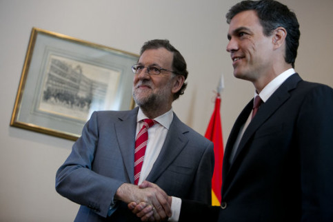 Spanish president Mariano Rajoy (left) and Socialists leader Pedro Sánchez (by PP)