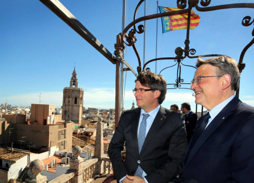 The Catalan President, Carles Puigdemont, and the Valencian President, Ximo Puig (by Generalitat Valenciana)