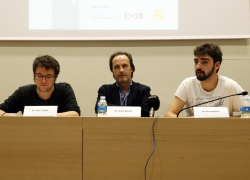 The president of ACUP, Sergi Bonet, with representatives from the SEPC and the UdG Student Council, during the 17 November press conference in 2016 (by Tania Tapia)