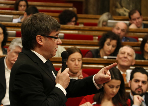 Catalan President, Carles Puigdemont, during his intervention in the plenary session (by ACN)