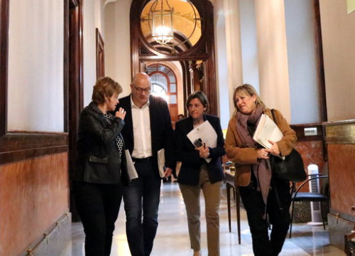 Parliament speaker Carme Forcadell (second from right) with bureau members Anna Simó, Lluís Corominas, and Ramona Barrufet in 2017 (by Núria Julià)