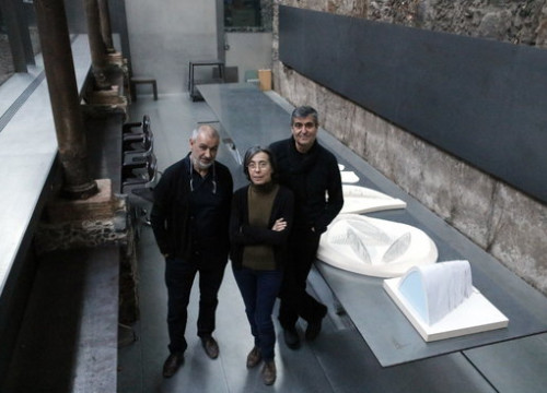 Rafael Aranda, Carme Pigem and Ramon Vilalta at their studio in Olot (By Marina López)