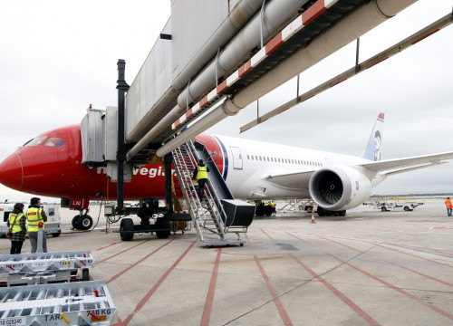 A Norwegian plane, after arriving from the United States (by ACN)