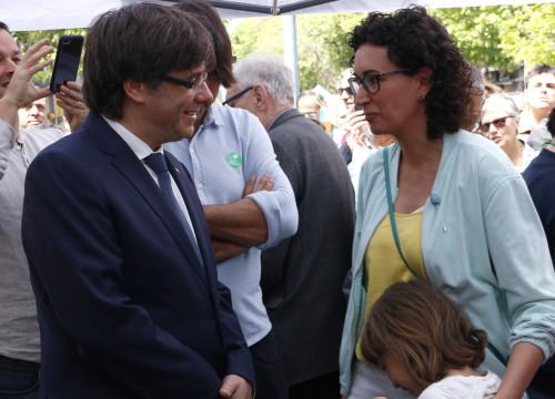 Carles Puigdemont and secretary general of ERC Marta Rovira in April (by ACN)