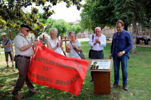 George Orwell, who was in International Brigade, commemoration plaque (ACN)