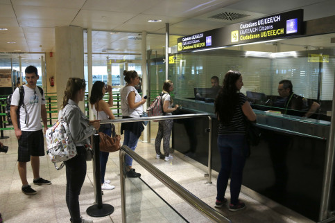 Passport control at Barcelona airport