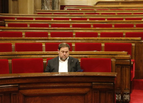 Vice president Oriol Junqueras, currently deposed and incarcerated, in the Catalan parliament on July 26 2017 (by Rafa Garrido)