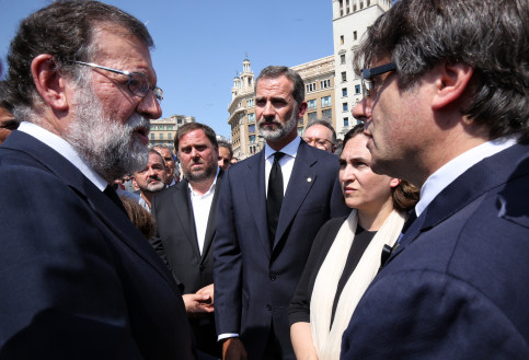 Carles Puigdemont, Mariano Rajoy, Ada Colau, Felipe VI and Oriol Junqueras in August 2017, Barcelona (by ACN)