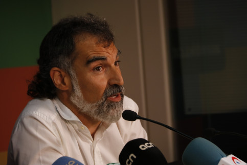 Grassroots civil society leader Jordi Cuixart at a press conference on August 31 2017 (by Guillem Roset)