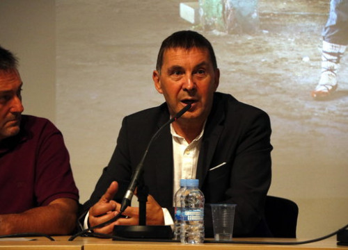 Left-wing pro-independence leader Arnaldo Otegi during a conference in Barcelona in 2017 (by Mar Martí)