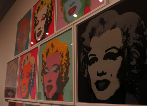 The iconic Marylin Monroe Warhol portraits in the 'Andy Warhol. The Mechanical Art' exhibition on display at the CaixaForum space (by ACN)