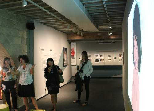 The 'Cinema and Emotions' exhibit at CaixaForum in Girona and some of its organizers (by ACN)