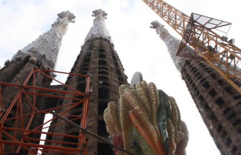 Interior view of the construction works of the towers of the Sagrada Familia. (Photo: Jofre Figueras)