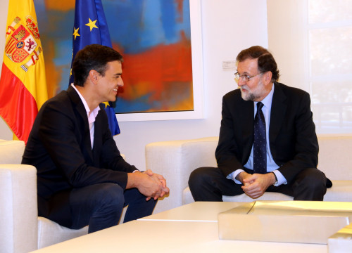 Mariano Rajoy and Pedro Sánchez during a meeting on October 2, 2017 (by Tània Tàpia)
