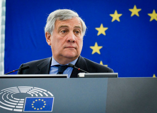 The European Parliament president Antonio Tajani at a plenasy session on October 4 (by European Parliament)