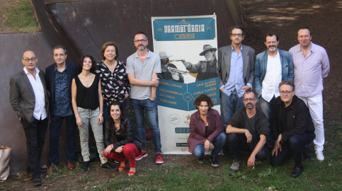 Temporada Alta director Salvador Sunyer with some of the playwrights taking part in this year's festival