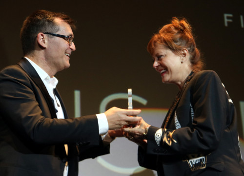 Susan Sarandon accepting the Grand Honorary Award from director of the Sitges Film Festival Àngel Sala, Sunday 8 October