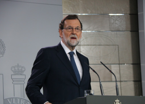 Spanish president Mariano Rajoy after his cabinet meeting on Wednesday (by Roger Pi de Cabanyes)