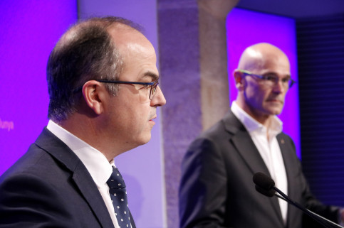 The Catalan government spokesman, Jordi Turull, and the Foreign Affairs Minister, Raül Romeva (by ACN)
