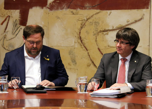 Vice-president Oriol Junqueras alongside president Carles Puigdemont (by ACN)