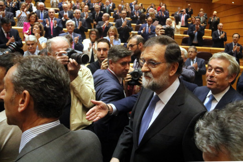 Spanish president Mariano Rajoy at the Senate (by Tània Tàpia)