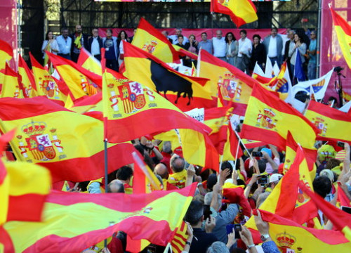 Demonstrators wave Spanish flags during a unionist rally in Barcelona (by Jordi Bataller)