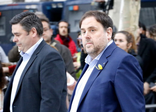 The Catalan vice president, Oriol Junqueras, before appearing on court (by Rafa Garrido)