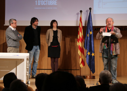 Four supporters of joint civil candidacy initiative, Antoni Morral, Francesc de Dalmases, Aurora Madaula and Pere Pugès, on Friday (by ACN)