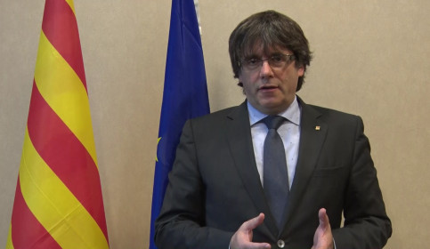Puigdemont speaking in Brussels (by ACN)