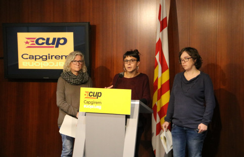 CUP members Maria Rovira, Maria José Lecha and Eulàlia Reguant at a press conference on Sunday (by ACN)