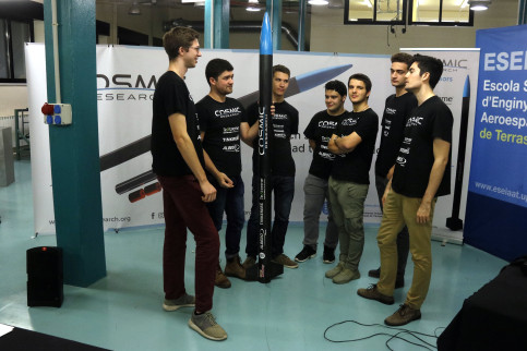 Students from the 'Cosmic Research´group with their rocket 'Resnik' named after American engineer and astronaut Judith Resnik