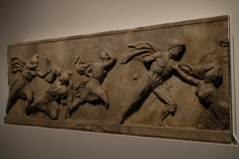 A slab from the frieze of the mausuleum of Halicarnassus depicting a battle between the Greeks and the Amazons (by Guillem Roset)