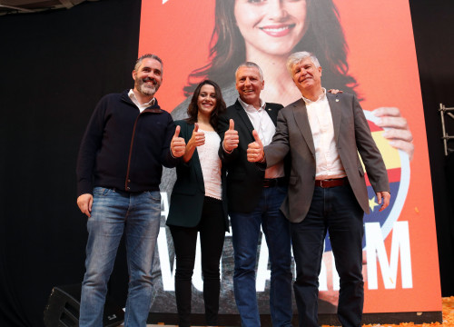 Inés Arrimadas with other Cs candidates presenting campaign slogan (by ACN)