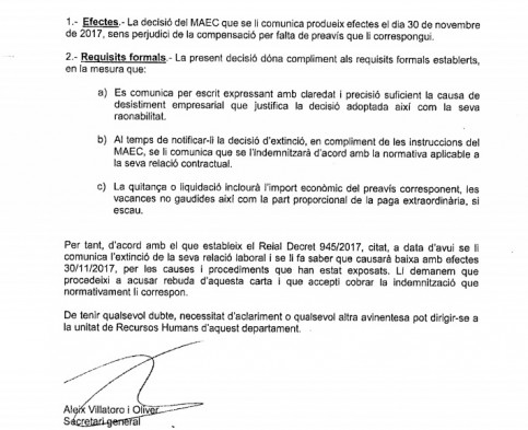 A letter of dismissal to one of the Catalan delegation employees abroad (by ACN)