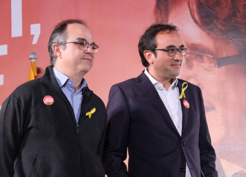 The deposed Catalan ministers Turull and Rull campaigning some hours after leaving prison (by Bernat Vilaró)