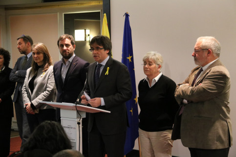 Carles Puigdemont speaking at a press conference in Brussels on Wednesday (by ACN)