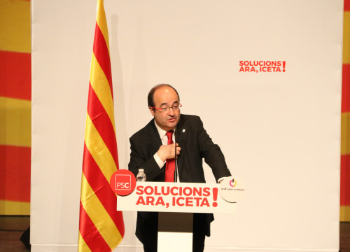 The Socialists candidate Miquel Iceta speaking on Wednesday (by ACN)